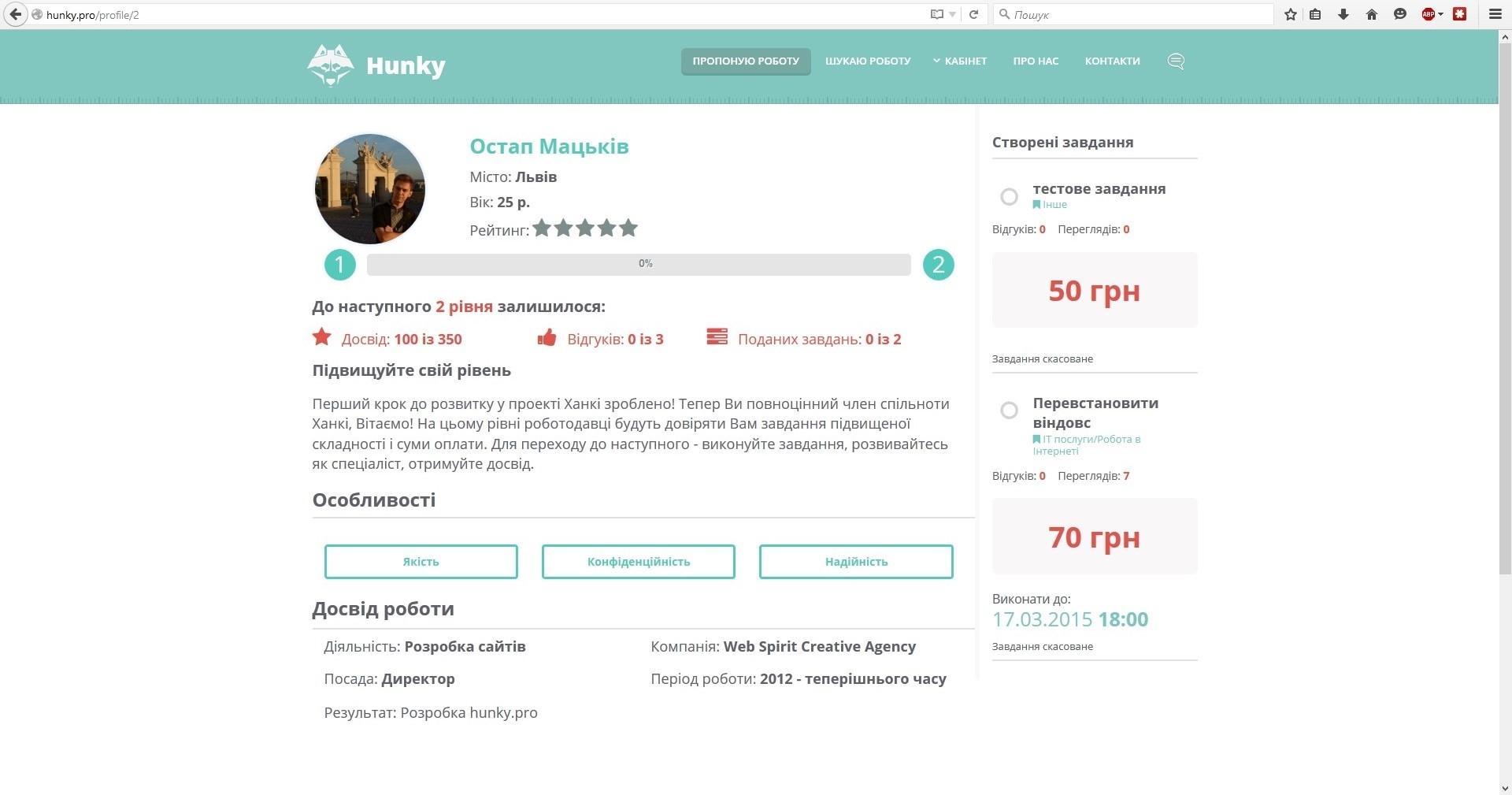 Профіль користувача. hunky.pro